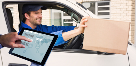 delivery driver: Man using tablet pc  against delivery driver offering parcel from his van Stock Photo