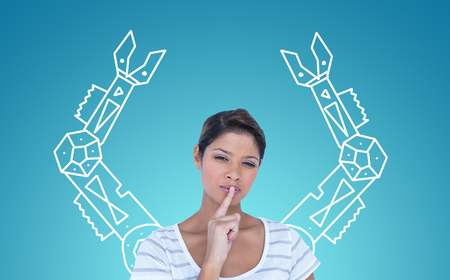 lips glow: Portrait of beautiful woman making silence gesture against blue vignette background