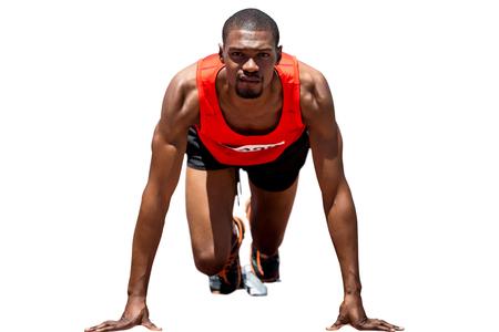starting block: Athlete man in the starting block