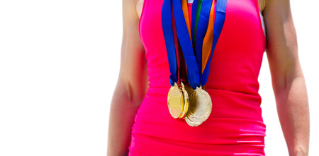 sportswoman: Portrait of sportswoman chest with medals