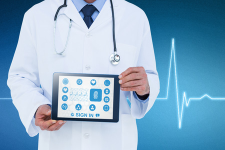 hospital icon: A doctor showing digital tablet against electrocardiogram