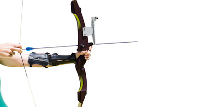 mid thirties: Close up of someone practising archery Stock Photo