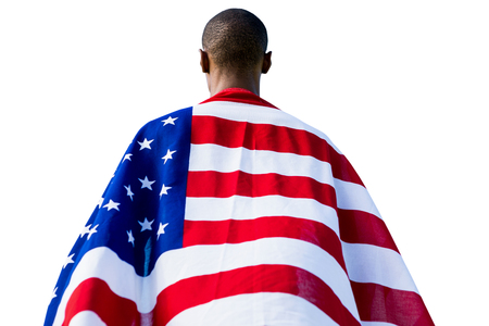 old glory: Rear view of american sportsman is posing Stock Photo