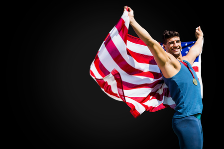 raise the white flag: Portrait of american sportsman is winning a competition