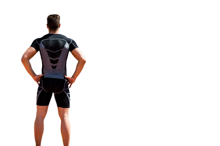 skintight: Rear view of athlete man posing Stock Photo