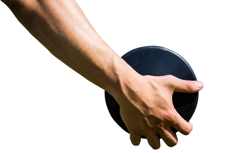 discus: Close up of sportsman hand is holding a discus Stock Photo
