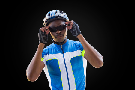 adventuring: Portrait of cyclist is posing