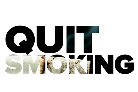 quit smoking: Quit smoking message on a white background