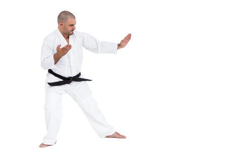 karateka: Fighter performing karate stance on white background Stock Photo