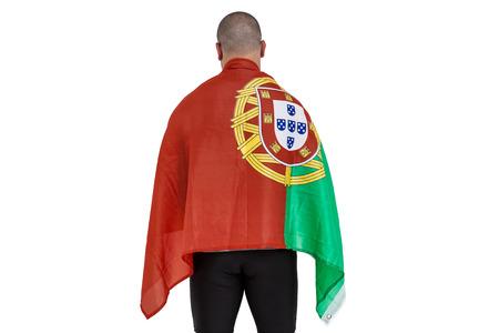 drapeau portugal: Athlète tenant le drapeau portugal sur