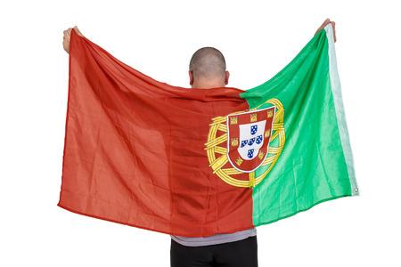 drapeau portugal: Athl�te tenant le drapeau portugal sur