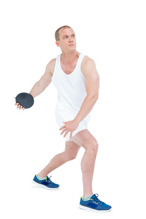 discus: Athlete discus throwing on white background