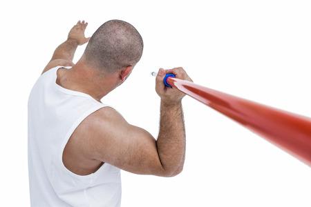 javelin: Athlete preparing to throw javelin on white background Stock Photo