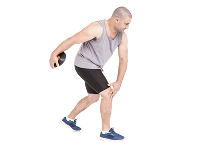 discus: Athlete discus throwing on white background