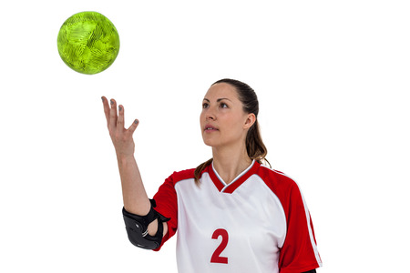 sportswoman: Sportswoman playing with ball on white background