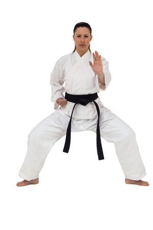 karateka: Female fighter performing karate stance on white background