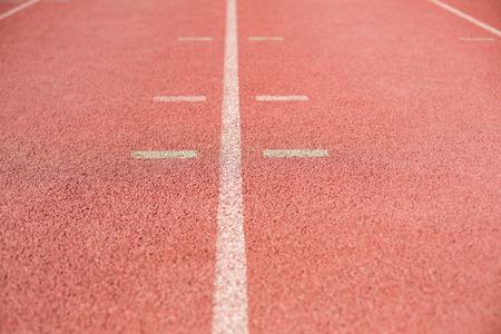 athleticism: Marking line on running track in stadium