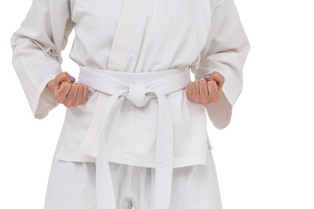 karateka: Mid section of fighter performing karate stance on white background