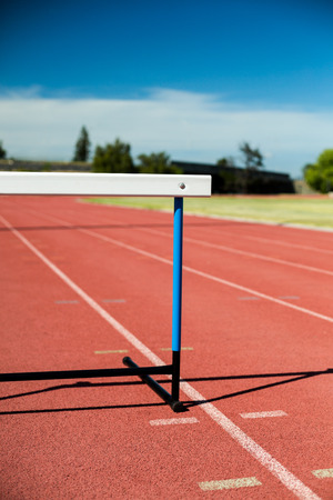 lane lines: Close-up of a hurdle on running track