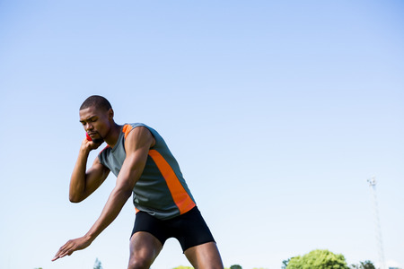 lanzamiento de bala: atleta determinado punto de lanzar lanzamiento de peso bola Foto de archivo