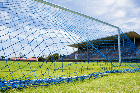 athleticism: Soccer goal in stadium on a sunny day
