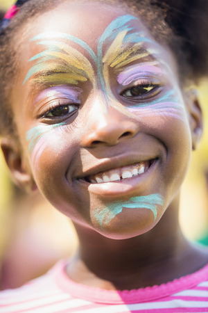 black makeup: Portrait of cute girl with make up smiling to the camera