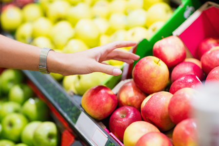 the shelf: Close up view of fruits shelf in supermarket Stock Photo
