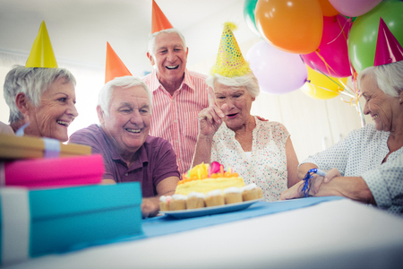 sheltered accommodation: Group of seniors celebrating a birthday in the retirement house Stock Photo