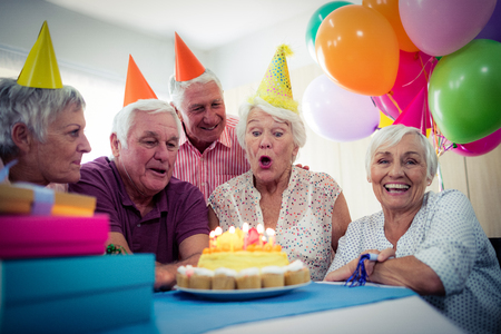 Group of seniors celebrating a birthday in the retirement house Reklamní fotografie