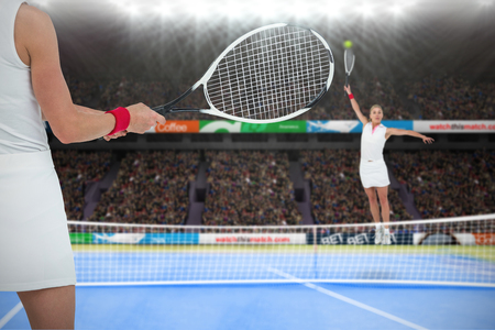 digitally generated image: Athlete playing tennis with a racket  against digitally generated image of tennis woman playing on court