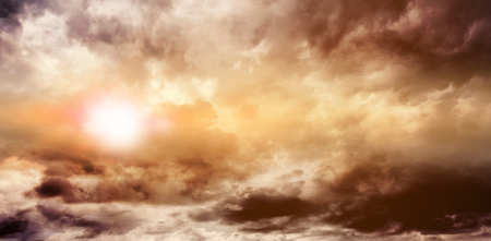 gloom: Gloomy orange sky Stock Photo