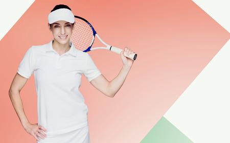 digitally generated image: Female athlete playing tennis against digitally generated image of geometric shapes