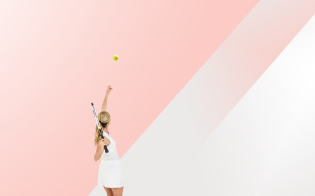 racquet: Athlete holding a tennis racquet ready to serve  against different colors