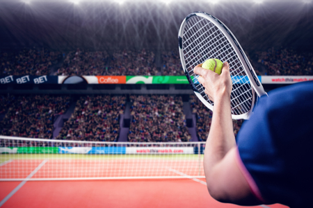 racquet: Tennis player holding a racquet ready to serve  against facing view of net on tennis field