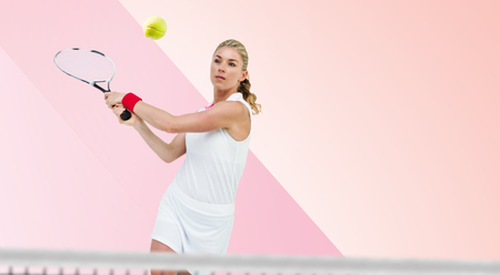 tournament of roses: Athlete playing tennis with a racket  against different colors Stock Photo