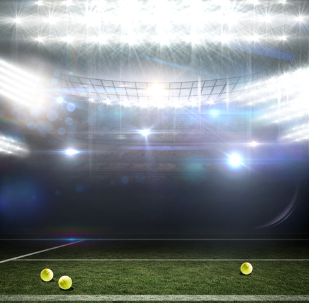 digitally generated image: Digitally generated image of field against american football arena