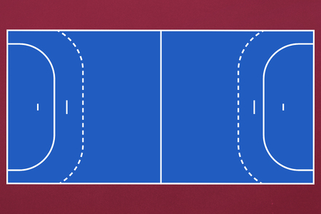 terrain de handball: Image numérique de bleu et rouge champ de handball