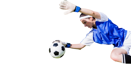 stopping: Woman goalkeeper stopping a goal on a white background Stock Photo