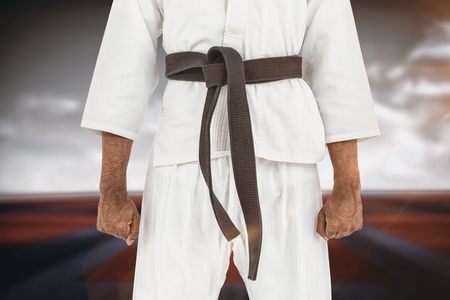digitally generated image: Mid section of karate player against digitally generated image of bi colored sports ground