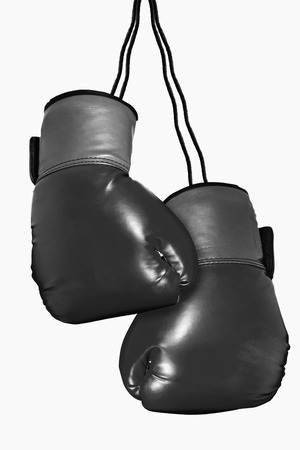 attached: Boxing gloves attached on a white background