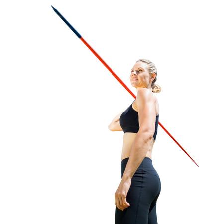 javelin: Sportswoman holding a javelin on a white background Stock Photo