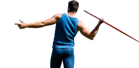 lanzamiento de jabalina: Vista trasera del deportista practicando lanzamiento de jabalina en un fondo blanco Foto de archivo