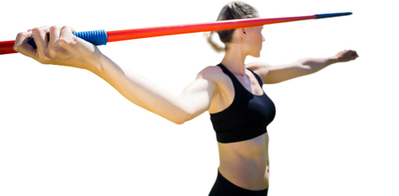 woman close up: Close up of sportswoman hand holding a javelin on a white background