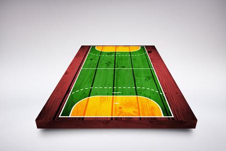terrain de handball: Dessin du terrain de sport contre des planches de bois