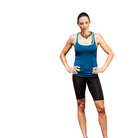 legging: Sportswoman posing on a white background