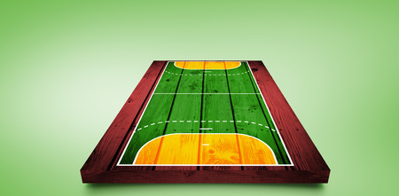 sports field: Drawing of sports field against green vignette Stock Photo
