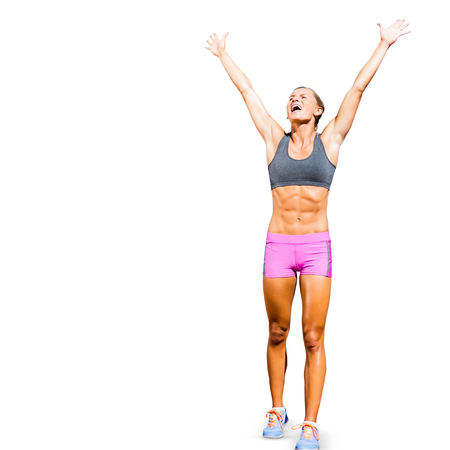 sportswoman: Sportswoman celebrating her victory in a white background Stock Photo