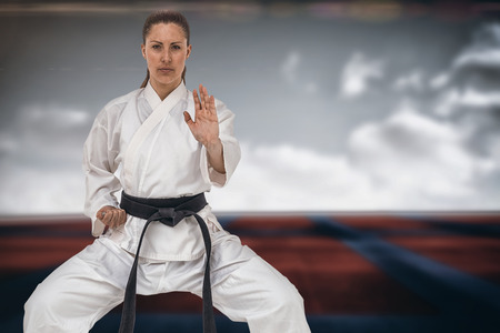 digitally generated image: Female fighter performing karate stance against digitally generated image of bi colored sports ground Stock Photo