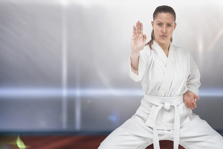 female person: Female fighter performing karate stance against composite image of playing field indoor Stock Photo