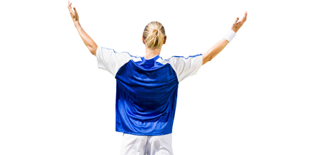 rear view: Rear view of sportswoman raising arms on a white background
